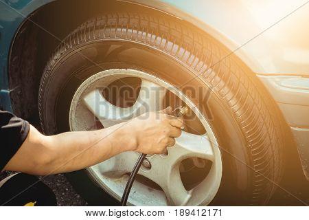 Tire Pressure Monitoring in Auto Service Center.