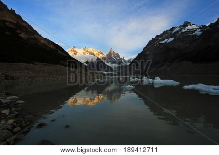 Reflection of Cerro Torre in Laguna Torre, Patagonia, Argentina, South America