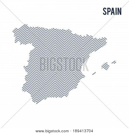 Vector abstract hatched map of Spain isolated on a white background. Travel vector illustration.