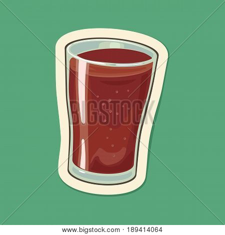 Glass of cola. Vector flat illustration for poster, menu, brochure, web and icon. Isolated on turquoise background.