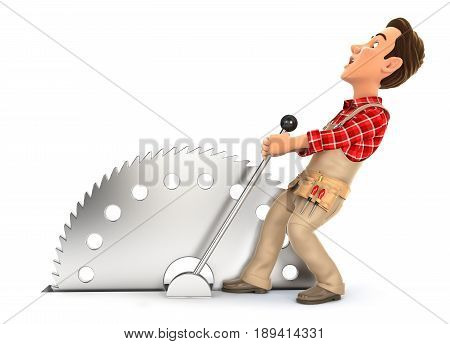 3d handyman activating circular saw illustration with isolated white background