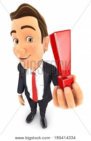 3d businessman holding exclamation mark illustration with isolated white background