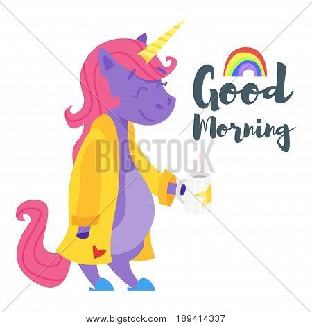 Vector cartoon style illustration of happy unicorn drinking tea in the morning. Template for