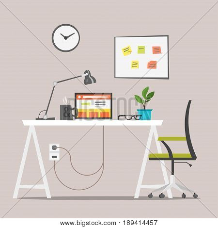 Vector flat style illustration of modern workplace. Job concept. Isolated on white background. Icon for web.