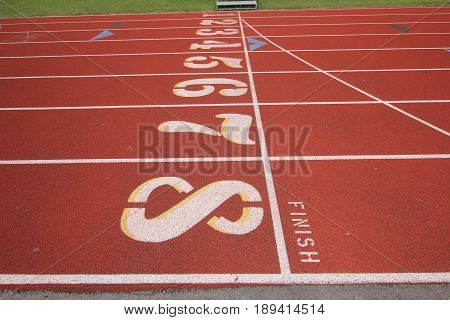 Track and field finish lane 1-8 outside.