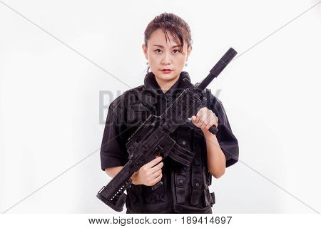 Chinese Female Police Officer With Assault Rifle