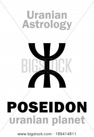 Astrology Alphabet: POSEIDON, Uranian planet (trans-neptunian point). Hieroglyphics character sign (single symbol).
