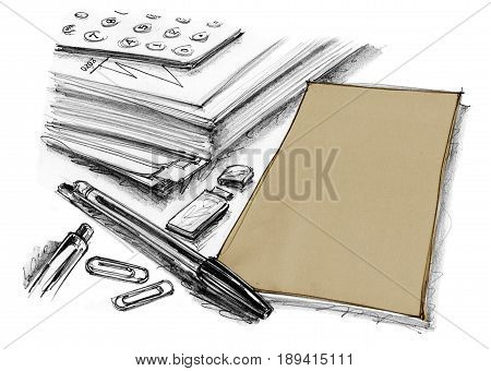 Paper with pen and flash drive are office supplies group hand drawn rough sketch has pen flash drive document clip Design art style isolate for your background.