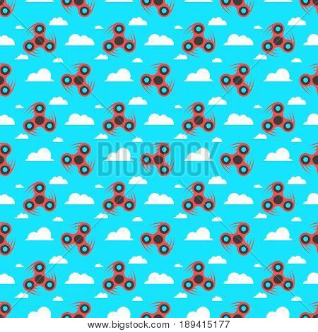 Spinner. A pattern of red spinners in a flat style. Spinners are spinning against the sky. lat white clouds. A modern antistress toy for recreation. Play with your fingers. Vector illustration