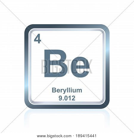 Symbol of chemical element beryllium as seen on the Periodic Table of the Elements, including atomic number and atomic weight.