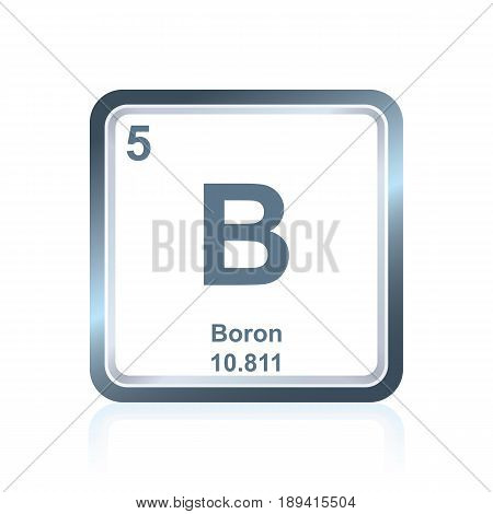 Symbol of chemical element boron as seen on the Periodic Table of the Elements, including atomic number and atomic weight.