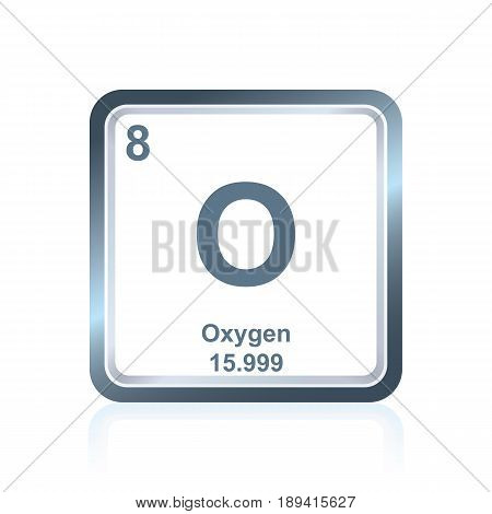 Symbol of chemical element oxygen as seen on the Periodic Table of the Elements, including atomic number and atomic weight.