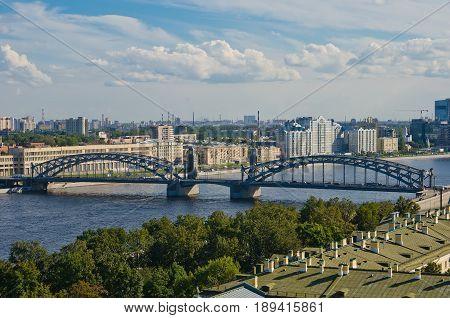 View from the heights to Bolsheokhtinsky Bridge. St. Petersburg