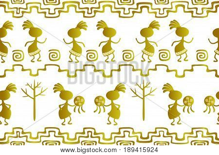 Seamless pattern in the ethnic style of ancient American Indians with scenes of ritual dances of ancient shamans. EPS10 vector illustration.
