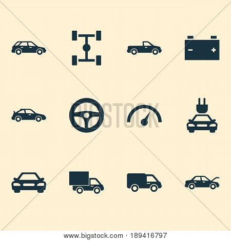 Auto Icons Set. Collection Of Carriage, Crossover, Hatchback And Other Elements. Also Includes Symbols Such As Plug, Speedometer, Control.