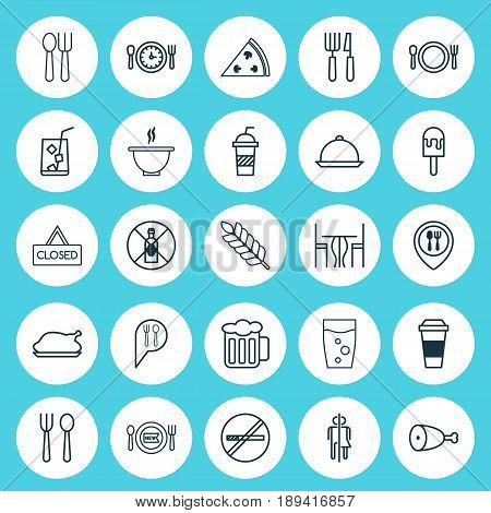 Meal Icons Set. Collection Of Lolly, Food Mapping, Mocha And Other Elements. Also Includes Symbols Such As Fork, Hanging, Closed.