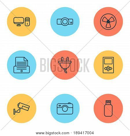 Gadget Icons Set. Collection Of Presentation, Ventilator, Socket And Other Elements. Also Includes Symbols Such As Presentation, Usb, Flash.