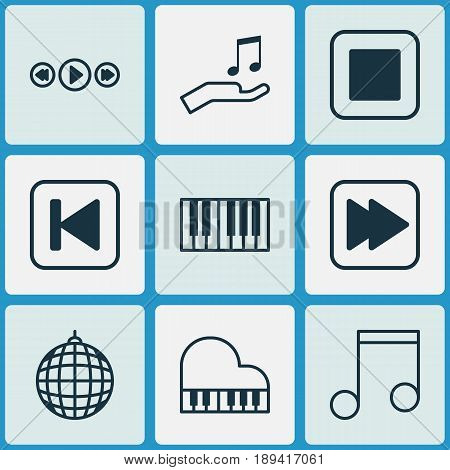 Audio Icons Set. Collection Of Piano, Stop Button, Run Song Back And Other Elements. Also Includes Symbols Such As Instrument, Stop, Party.