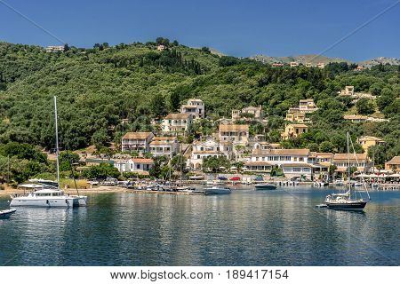 Agios Stephanos a small tourist resort on the north east coast of Corfu in Greece