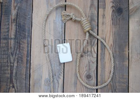 Noose and soap suicide or executioner. Rope with loop.