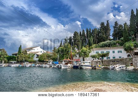 The small tourist resort of Kouloura on the north east coast of Corfu