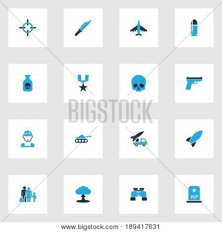 Warfare Colorful Icons Set. Collection Of Binoculars, Gun, Medal And Other Elements. Also Includes Symbols Such As Aircraft, Binoculars, Knife.