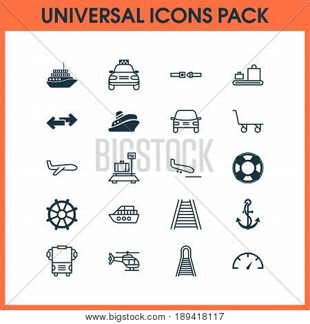 Transportation Icons Set. Collection Of Anchor, Safety Belt, Transport And Other Elements. Also Includes Symbols Such As Cart, Trolley, Railroad.