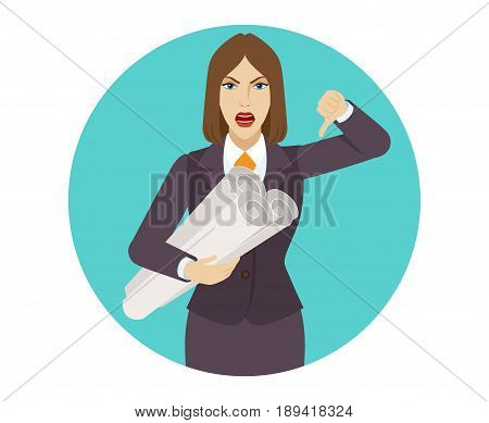 Businesswoman holding the project plans and showing thumb down gesture as rejection symbol. Portrait of businesswoman in a flat style. Vector illustration.