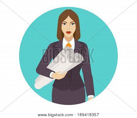 Businesswoman holding the project plans. Portrait of businesswoman in a flat style. Vector illustration.
