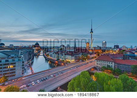 The center of Berlin with the Television Tower at dusk