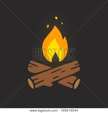 Campfire logo vector illustration on dark background. Crossed logs of wood and fire flame.