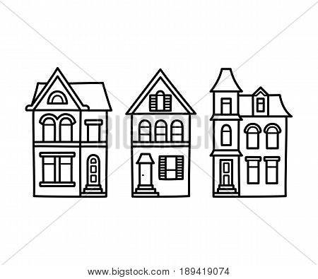 Old Victorian style detached houses vector illustration. Hand drawn architecture contour drawing set.