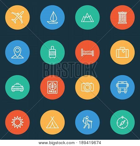 Exploration Outline Icons Set. Collection Of Bedstead, Auto, Video And Other Elements. Also Includes Symbols Such As Furniture, Sunny, Location.