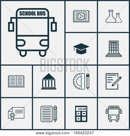 Education Icons Set. Collection Of Education Center, Graduation, Chemical And Other Elements. Also Includes Symbols Such As Essay, Notebook, Cap.