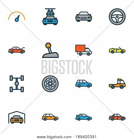 Auto Colorful Outline Icons Set. Collection Of Washing, Bonnet, Cabriolet And Other Elements. Also Includes Symbols Such As Carcass, Pickup, Shed.