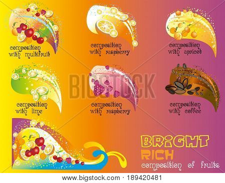 Vector set of bright and rich composition of fruits on colorful background