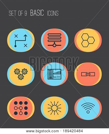 Robotics Icons Set. Collection Of Controlling Board, Information Base, Related Information And Other Elements. Also Includes Symbols Such As Linked, Related, Communication.