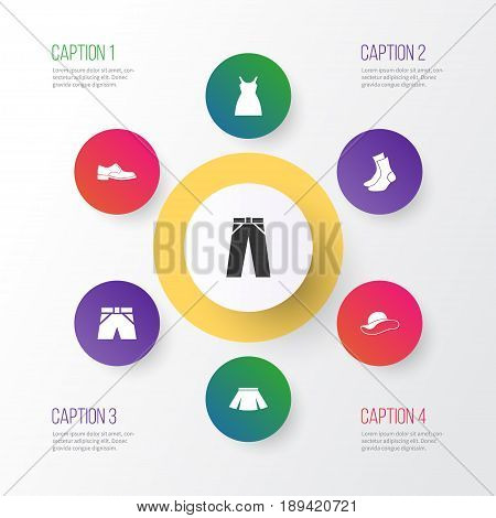 Clothes Icons Set. Collection Of Half-Hose, Pants, Stylish Apparel And Other Elements. Also Includes Symbols Such As Garment, Cloth, Dress.