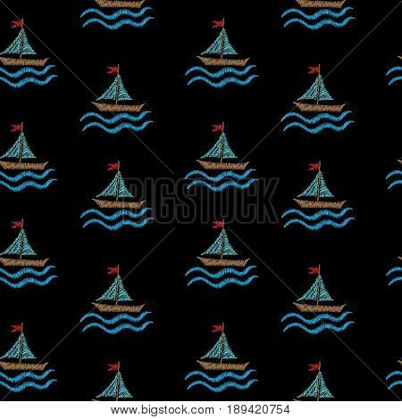 Seamless pattern with embroidery stitches imitation little boat and wave. Marine embroidery pattern vector background for printing on fabric paper for scrapbook gift wrap.