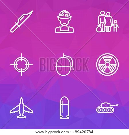 Combat Outline Icons Set. Collection Of Target, Aircraft, Cutter And Other Elements. Also Includes Symbols Such As Ballet, Refugee, Bombshell.