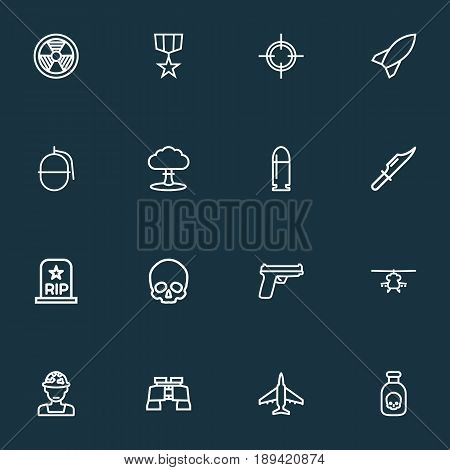 Combat Outline Icons Set. Collection Of Bombshell, Bomb, Military And Other Elements. Also Includes Symbols Such As Bomb, Helicopter, Target.