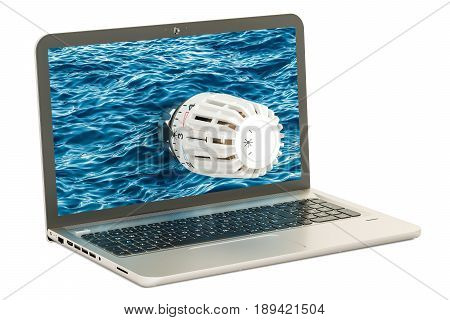 Laptop with radiator thermostatic valve. 3D rendering isolated on white background
