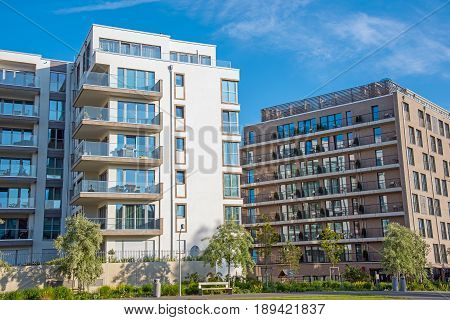 Modern white and brown apartment houses seen in Berlin, Germany