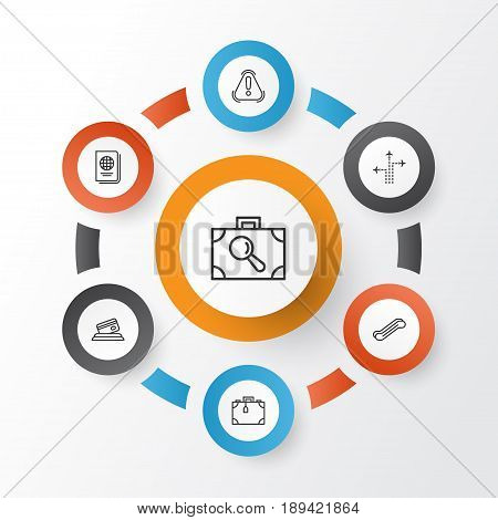 Airport Icons Set. Collection Of Credit Card, Identification Document, Baggage Research And Other Elements. Also Includes Symbols Such As Citizenship, Credit, Passport. poster