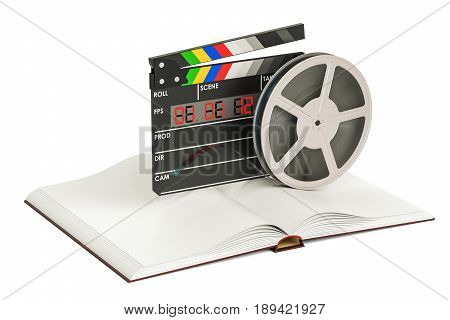 Screenplay Film concept. Book with film trips and clapperboard 3D rendering