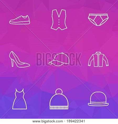 Garment Outline Icons Set. Collection Of Gown, Hat, Underpants And Other Elements. Also Includes Symbols Such As Shoes, Gown, Hat.