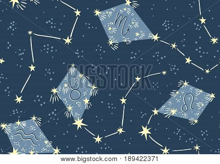 Seamless pattern with kites in the star sky. Vector night astrology fabric design. Bright space background with constellations.