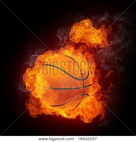 Pelota de baloncesto en el fuego. Gráficos 2D. Diseño de la computadora.