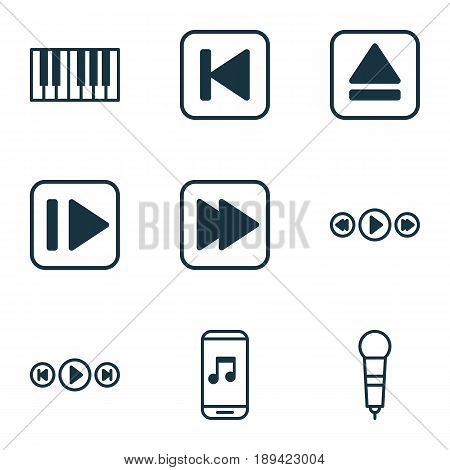 Audio Icons Set. Collection Of Following Music, Piano, Run Song Back And Other Elements. Also Includes Symbols Such As Microphone, Instrument, Audio.