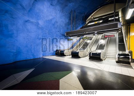 Stockholm underground metro station Sweden Scandinavia Europe